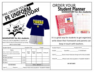Order PE Uniform and Agenda